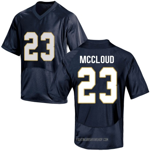 Youth Under Armour Nick McCloud Notre Dame Fighting Irish Game Navy Blue Custom Football College Jersey