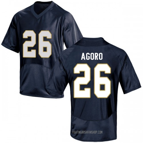 Youth Under Armour Temitope Agoro Notre Dame Fighting Irish Game Navy Blue Football College Jersey