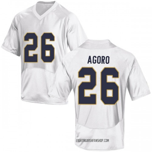 Youth Under Armour Temitope Agoro Notre Dame Fighting Irish Game White Football College Jersey