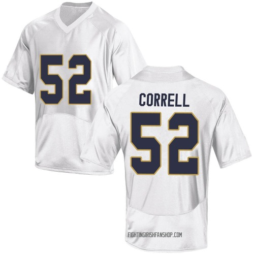 Youth Under Armour Zeke Correll Notre Dame Fighting Irish Game White Football College Jersey