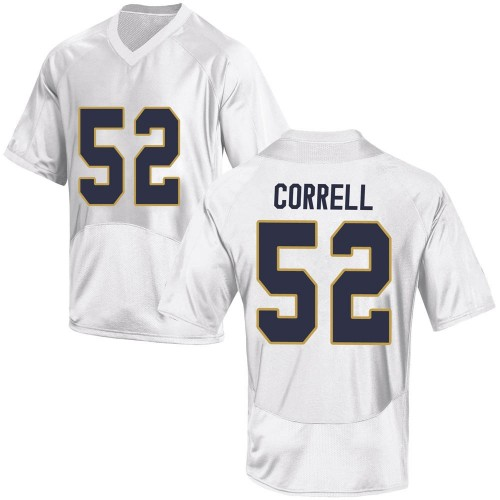 Youth Under Armour Zeke Correll Notre Dame Fighting Irish Replica White Football College Jersey